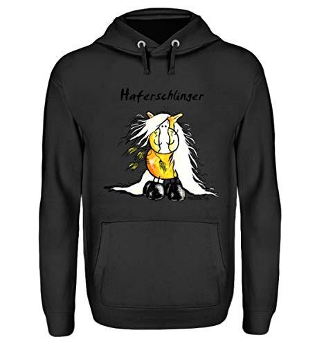 Shirtee Divertida sudadera con capucha unisex con diseño de caballo de avena haflinger. negro azabache XXXL