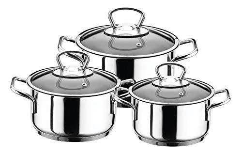Aryildiz Midi - Batería de cocina (16-18-20 cm, ollas y tapas de cristal, acero inoxidable)