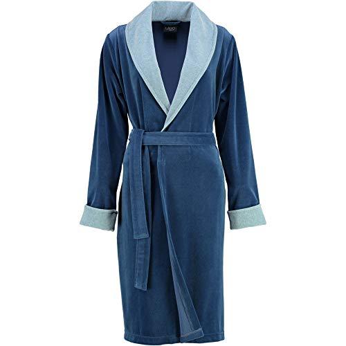 Michaelax-Fashion-Trade Lago - Damen Velours Bademantel mit Schalkragen (810), Größe:44/46, Farbe:Dunkelblau (11)