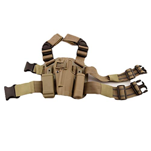 WISEONUS Pistoleras Airsoft Tactical Right Drop Leg Holster Case Paddle Magazine Revista Antorcha Bolsa para Colt M1911 1911