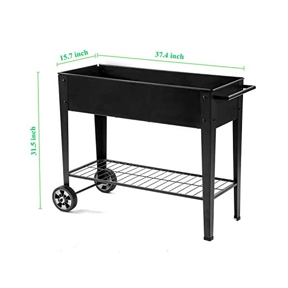 Zizin Raised Garden Planter Box with Legs Outdoor Metal Elevated Garden Bed On Wheels Apartment Vegetables Herb Kit,40… 2 Metal Material: The raised flower beds outdoor is made of stable galvanized steel, the frame is solid and reinforced.It can be used to place outside or indoor for long time Drainage: In the middle of the cart is a water hole and drainage line to prevent waterlogging, planter can planted directly in the bed Easy Assemble: Space saving standing planter is easy to put together, go ahead to raise the plants.