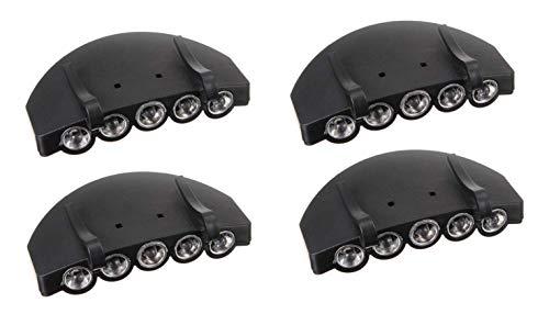 5 luces LED ultra brillantes con clip en la gorra, sombrero, linterna, visera, faros delanteros, manos libres, ideal para camping, senderismo, correr, lectura, trabajo, pesca (4 unidades)