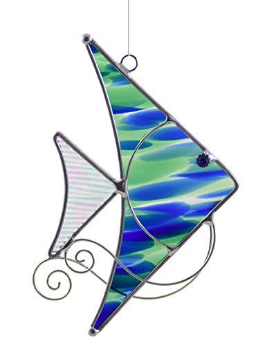 American Made Blue-Green Angelfish Art Glass Suncatcher
