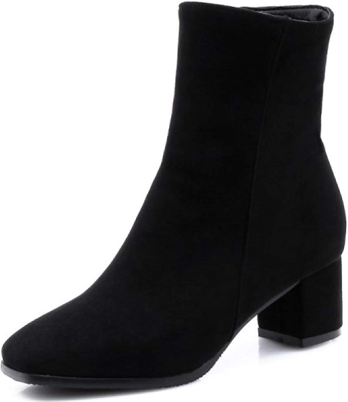 ZPFMM Damen Damen Damen Sexy Stiefeletten Leder PU Damen Im Freien Blockabsatz Reißverschluss Stiefel  c21ad5