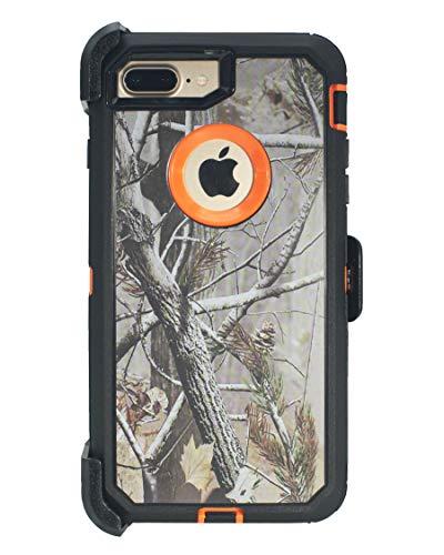 """Hande Muscle Series - Funda con clip para cinturón para Apple iPhone 7 Plus/iPhone 8 Plus (5,5"""") 2 en 1, protector de pantalla, funda y soporte, a prueba de golpes y caídas y polvo, camuflaje/naranja"""
