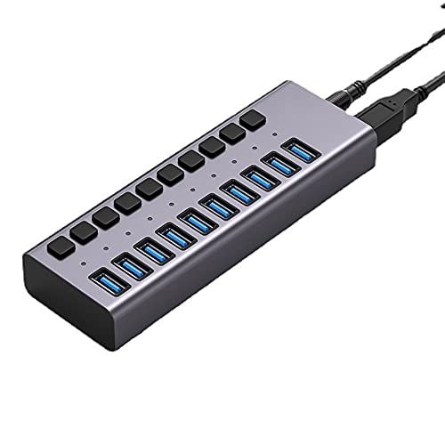 QAZXCV 3.0 Hub Súper Velocidad Splitter 10 Puerto USB, con Adaptador De Corriente, Interruptores De Encendido/Apagado Individuales Y Luces para Computadora Portátil, PC, Computadora, HDD Móvil