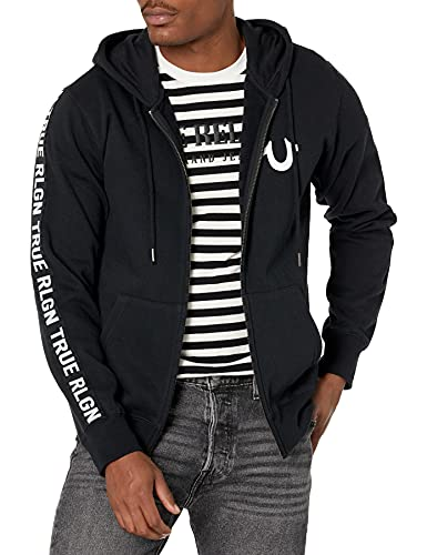 True Religion Men's Side Taping Long Sleeve Hoodie, Black, Medium