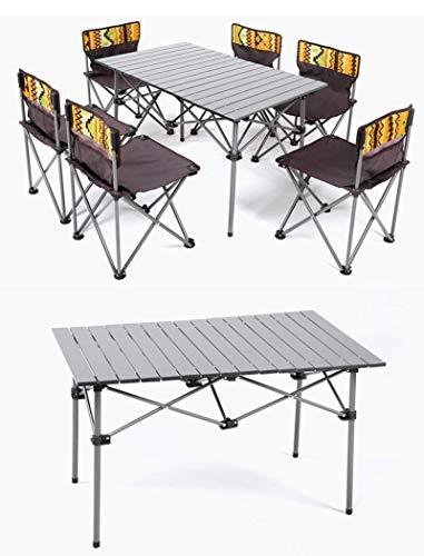 BGFS Juego de mesas y sillas plegables al aire libre Mesa de comedor portátil de picnic de 7 piezas al aire libre auto-conducción viaje ocasional
