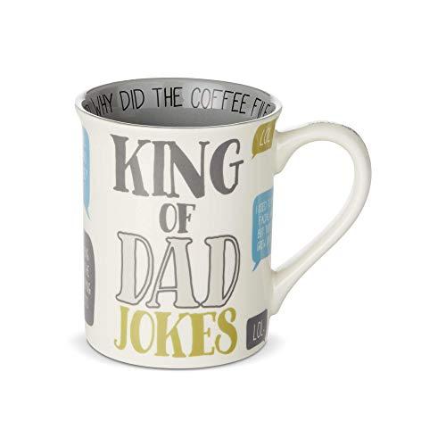Enesco 6003384 Our Name is Mud King of Dad Jokes Coffee Mug, 16 Ounce, Multicolor
