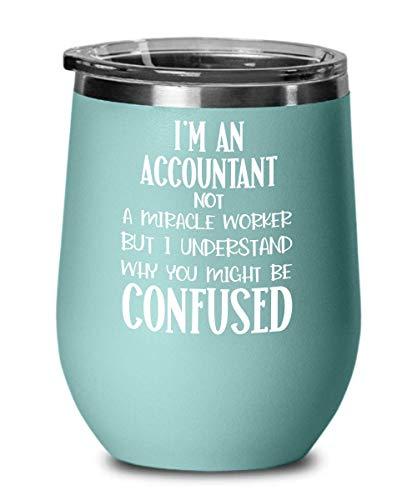 Caneca de vinho de agradecimento, presente para contadores, presentes para mulheres, não é um milagre trabalhador, canecas de café engraçadas de contabilidade para colegas de trabalho Ga
