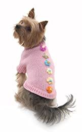 Puchi Pretty Pink Flower Dog Jumper - Small