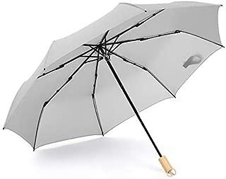 TOOGOO Waterproof Full Automatic Umbrella Rain Women Men 3 Folding Light and Durable Super Strong Umbrellas Kids Rainy Sunny Gray