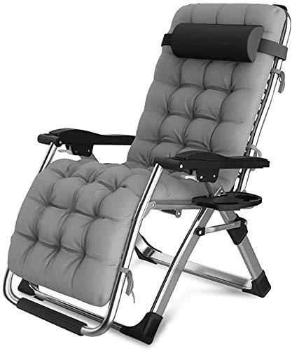 CHAIRQEW Sedie da Giardino Patio reclinabili per Persone Pesanti Sedie a Sdraio per Giardino a gravità Zero Sedie a Sdraio da sole200kg (Color : Silver)