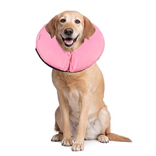 PET SPPTIES aufblasbar Halsband für Haustier Hund Katze bequem weich Recovery Schwimmen Schutz-mit Magic Reißverschluss für Haustier Hund Nackenschutz Kissen PS005 (L/Pink)
