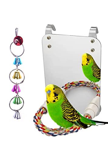 LOPERDEVE 7' Brid Mirror with Rope Perch Bird Toys Swing, Comfy Perch for Greys Amazons Parakeet...