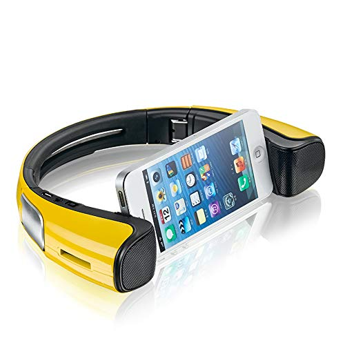LIUJIE Tragbare Bluetooth-Lautsprecher mit Handyhalterung Dock Neck, Smartphone-Halterung, tragbarer Lautsprecher, um den Hals zusammenklappbar für Android,Yellow