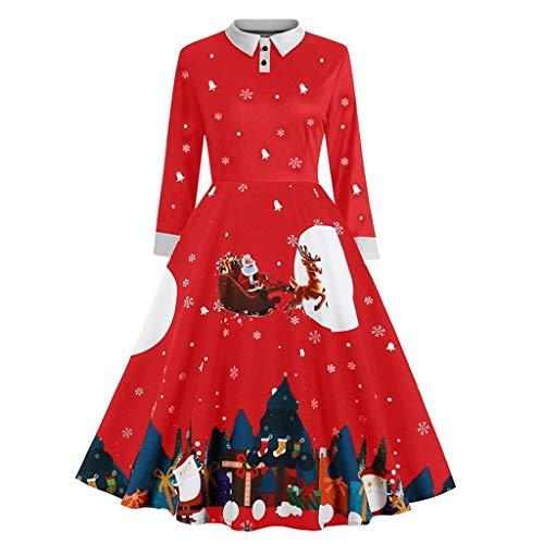Auifor damesmode-kerstprint jurk O-aanzet ritszak Hepburn-feestjurk