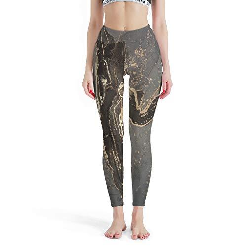 Knowikonwn Leggings für Damen, mit Marmor-Textur, Tintendruck, moderner Stil, modisch, bedruckt, Weiß, 2 l