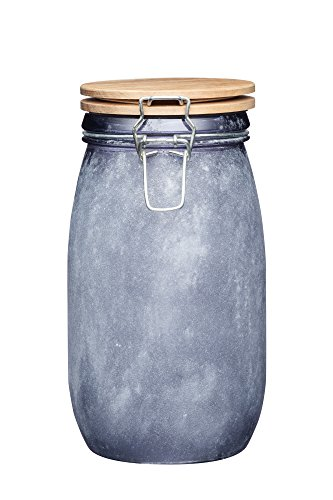 KitchenCraft - Barattolo in vetro per alimenti con coperchio ermetico in legno, 1,5 l (2,75 pts), finitura in cemento