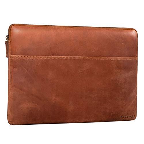 STILORD 'Murphy' Laptoptasche 15.6 Zoll Leder Vintage Sleeve perfekt als MacBooktasche 16 Zoll Laptop Hülle 15 Zoll Notebook Tasche Schutzhülle Dokumentenmappe, Farbe:Andorra - braun