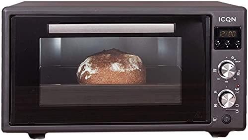 ICQN Mini Forno 50 Litri con Timer Digitale   Smaltato   Illuminazione Interna   Ventilato   Forno Per pizza   Doppio Vetro   Spiedo Girevole   Temperatura da 40° Fino a 230°   Antracite