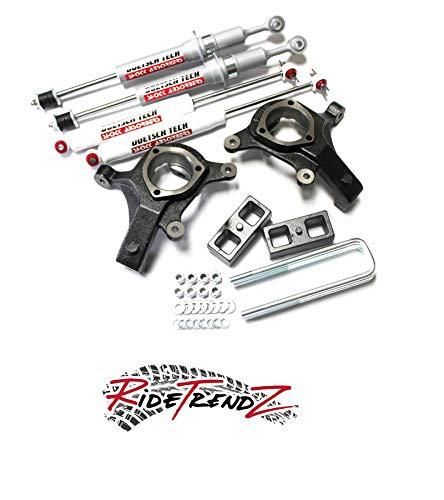 RTZ - Compatible with Chevrolet GMC Sierra Silverado 1500 07-16 Pickup Truck Lift Kit 5' Front Lift Doestch Tech Struts & Spindles + 3' Rear Lift Block Kit + Rear DT 9000's Nitrogen Gas Shocks 2WD RWD