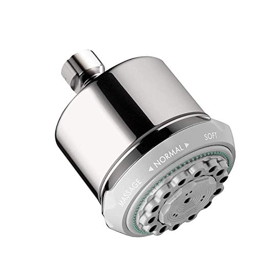 hansgrohe Clubmaster 4-inch Showerhead Easy Install Modern 3-Spray Full, Pulsating Massage, Soft spray Easy Clean with QuickClean in Chrome, 28496001