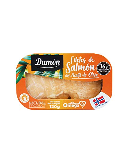 Dumón - 11 Unidades de 120 gr de Filetes de Salmon Noruego en Aceite de Oliva, Exclusivo Formato Transparente con Abre Fácil, Conserva de Pescado en Lata. Salmon Noruego Alto en Proteínas y Omega 3.