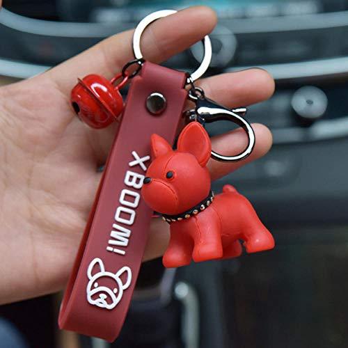 Fashion French Punk Bulldog Keychain PU Leather Dog Keychains for Women Bag Charm Trinket Men Car Key Ring Key Chain Jewelry-1