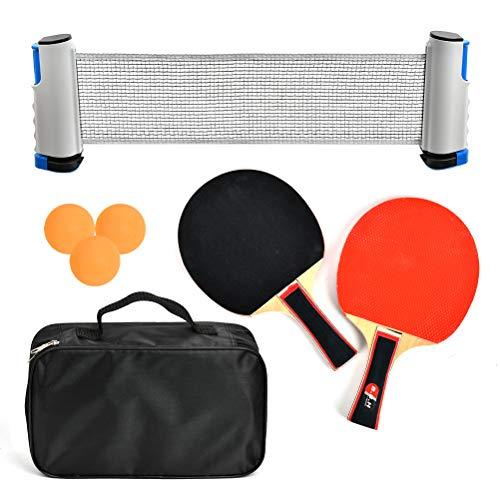 DODUOS Set Tennis da Tavolo Portatile Accessorio Pagaiaa da Ping Pong Professionale con 2 Racchette Tennis da Tavolo + 3 Palline da Ping Pong + 1 Rete Retrattile + 1 Borsa Portaoggetti