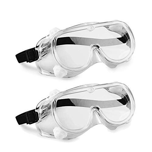 Safety goggles,protection goggle,Contains 2 x Safety Goggles,Portable Goggles,Anti-scratch lens, can put glasses, adjustable field of view, light and soft,The safety goggles fits all people,