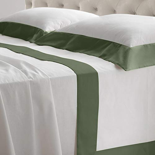 Complete Bedding Set with Frill Edge in Pure Cotton Satin, Fitted Sheet with Pillowcases and Pillowcases Single Size Machine Washable Queen-size bed Sage Green