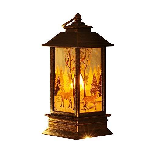 Weihnachten Deko Lichterkette Innen Außen Party Partyzubehör Santa Schneemann Elch LED Lampe Nacht Desktop Weihnachtsbaum hängen- Schwarzer goldener Elch
