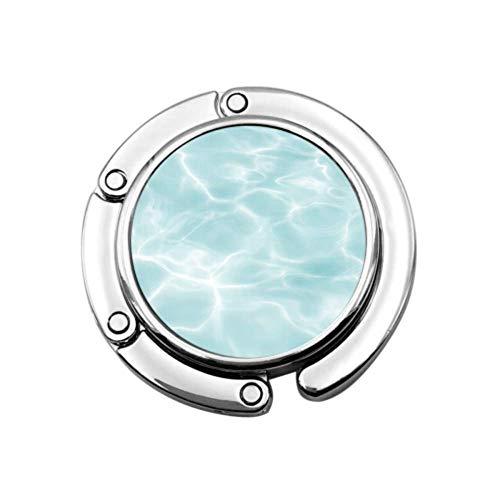 Blue Summer Cool Swimming Pool unter Wasser Schreibtisch Geldbörse Kleiderbügel Geldbörse Kleiderbügel Tischhaken Einzigartige Designs Faltbereich Lagerung Kleiderbügel Taschen für Frauen