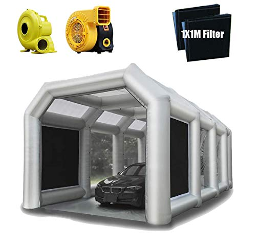23X13X10FT Inflatable Paint Booth Tent with Upgrade High-Power Blowers 950W+750W, Professional Inflatable Spray Booth Car Workstation Portable Paint Booth with Air Filter System