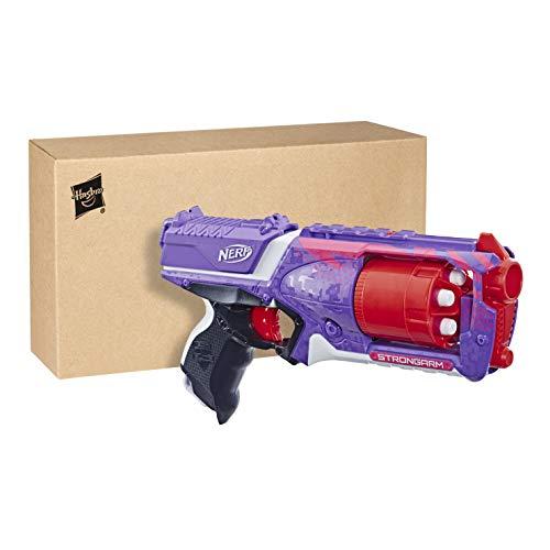 Nerf Elite Strongarm lilafarbener Blaster – Rotationstrommel, Schnellfeuer, 6 Nerf Elite Darts – für Kinder, Teenager, Erwachsene