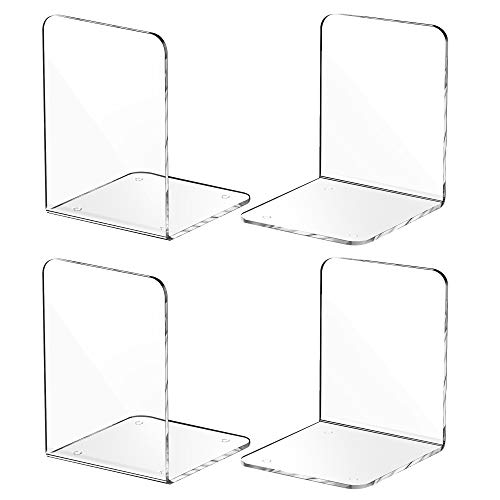 MaxGear Book Ends Clear Acrylic Bookends for Shelves, Non-Skid Bookend, Heavy Duty Book End, Book...