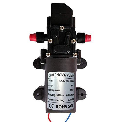 CYBERNOVA DC12V 131PSI 6L/m agua dulce de agua de alta presion de diafragma autocebante Bomba de camping/Barco/RV/jardin/Limpieza de vehiculos/autocaravanas(6L/ m)