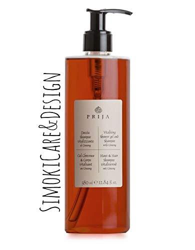 Prija Champú para la piel y el cabello con ginseng, 1 gel de ducha de 380 ml, frasco con bomba