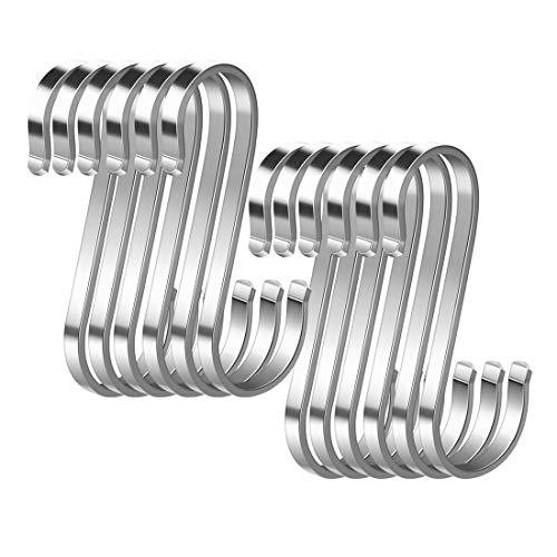 Confezione da 12 ganci a S in acciaio inox a forma di S, ganci in metallo resistenti per utensili da cucina, ufficio, bagno, armadio, officina, garage, ufficio, casa essenziale
