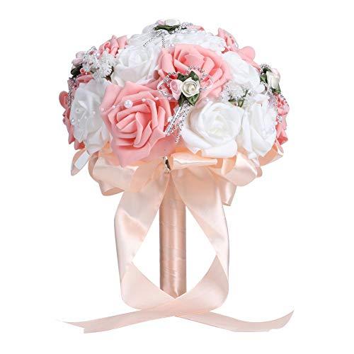 Filfeel 【𝐅𝐫𝐮𝐡𝐥𝐢𝐧𝐠 𝐕𝐞𝐫𝐤𝐚𝐮𝐟 𝐆𝐞𝐬𝐜𝐡𝐞𝐧𝐤】 Neuer Brautstrauß, künstlicher Hochzeitsstrauß-Simulation-Braut, die Blumen-Dekorations-Hochzeits-Versorgungsmaterialien hält(Rosa)