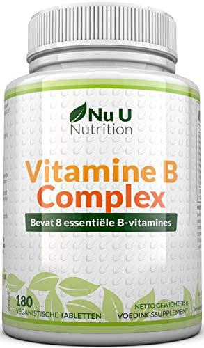 Vitamine B-complex - 180 tabletten, 6 maanden levering - Bevat alle 8 B-vitamines in 1 tablet, Vitaminen B1, B2, B3, B5, B6, B12, Biotine en foliumzuur - Hoge sterkte vitamine B-complex - Veganistisch