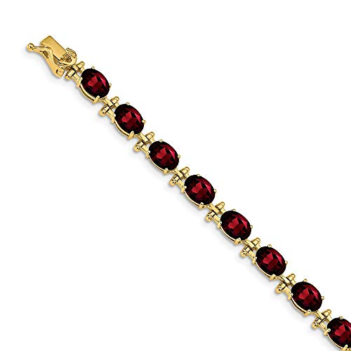 14k Yellow Gold Red Garnet Bracelet 7 Inch Gemstone Bm Fine Jewellery For Women Gifts For Her