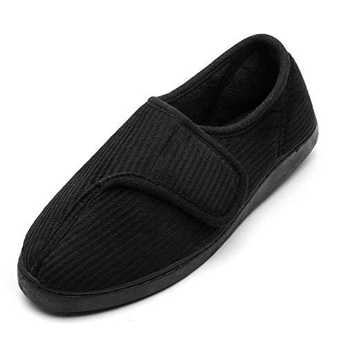 Git-up Diabetic Slippers Shoes for Men Arthritis Edema Adjustable Closure Memory Foam House Shoes, 14 Black