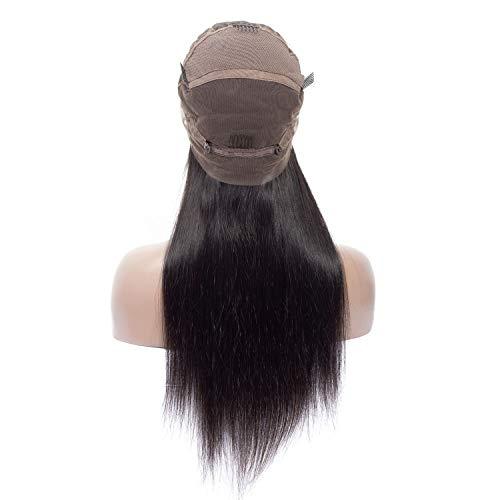 Perruque de Cheveux Dame Longue brésilienne Noire Droite Cheveux naturels de Perruque Remy Vieilles Perruques (Color : Noir, Size : 20inch)