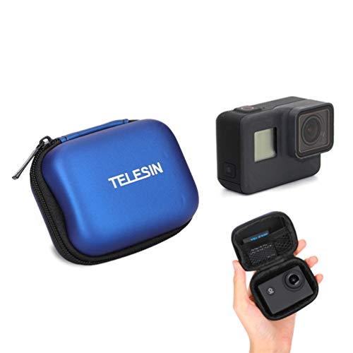 Für GoPro Tasche, Schutz Mini Aufbewahrungstasche für GoPro Hero 8 7 6 5 4 3 2018 Session Tragbares Reisen PU Leder wasserdichte Schwarz Tasche für GoPro Zubehör (for Mini Tool Bag Blue)