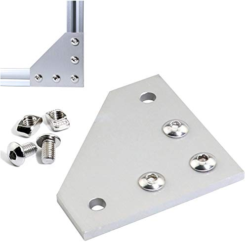 Boeray 10pcs Aluminum Alloy T Slot L Shape Joining Plate and 50pcs M5x8 Hex Screw and 50pcs T Nut for 2020 Series Aluminum Profile