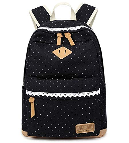 COOFIT Rucksack Mädchen, Rucksack Damen Elegant Canvas Rucksack Retro Rucksack Vintage für Outdoor Camping Picknick Sports, L, Black Wave Point