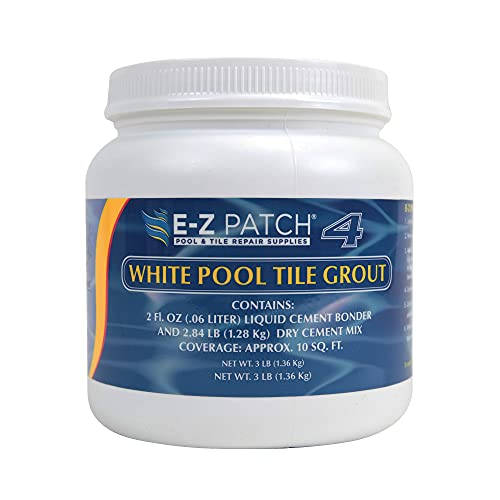 E-Z Patch 4 White Pool Tile Grout for DIY & Pro Repairs - Color Adjustable Grout Refresh (3 Pounds)