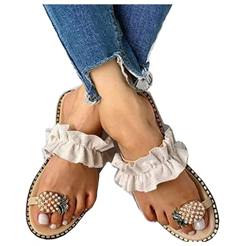 Challyhope Sweet Cute Pineapple Pearls Sandals Clip Toe Flip Flops Boho Casual Flat Slippers Beach Shoes for Women Girls (US:8, Beige - Ruffles)